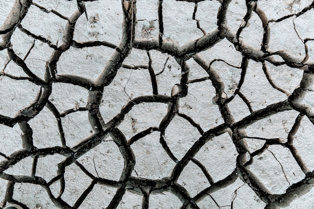 Droge en gebarsten grond opwarming van de aarde concept