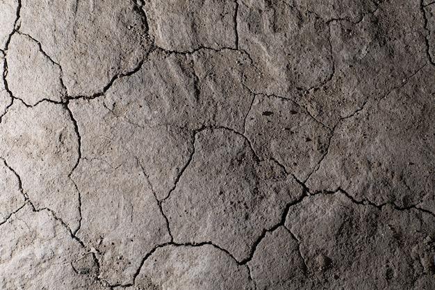 Droge gebarsten aarde gemalen textuur. geen drenken woestijn.