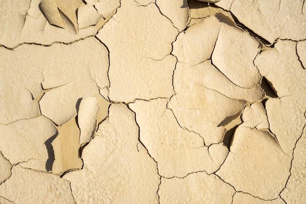 Droge gebarsten kleitextuur. gevolgen van de opwarming van de aarde. klimaatverandering