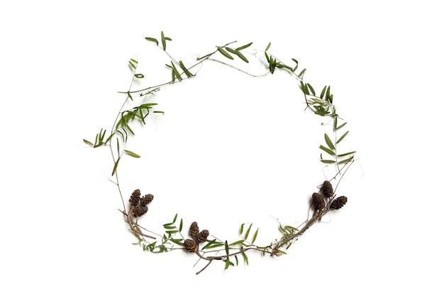 Droge grassprieten en bulten - herfstherbarium, plat gedroogd. ringvormig