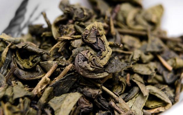 Droge groene thee da hong pao. detailopname .