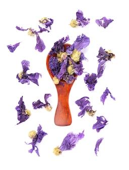 Droge kaasjeskruid bloemen geïsoleerd