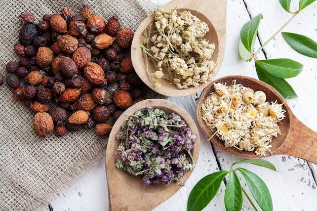 Droge kruiden in houten lepels en gedroogde rozenbottels voor het maken van kruidenthee en kruidenthee. traditionele geneeskunde en kruidenbehandeling concept.