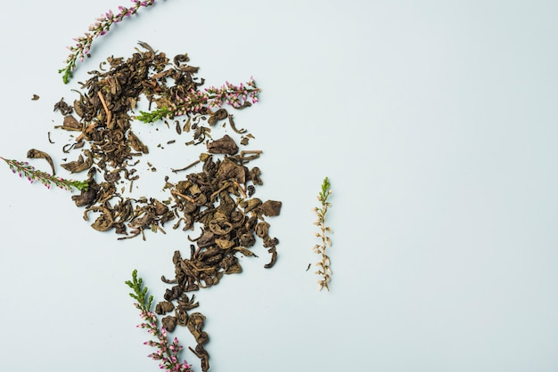 Droge lavendelbloemblaadjes op witte achtergrond