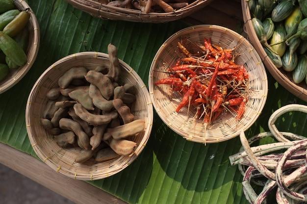 Droge rode peper en tamarinde zacht
