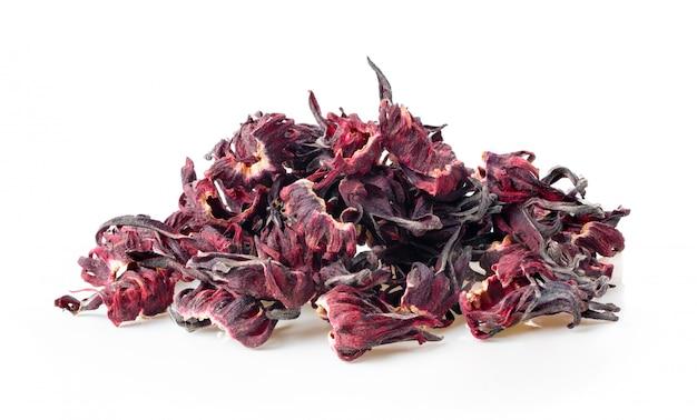 Droge roselle hibiscus die op wit wordt geïsoleerd