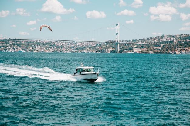 Droge vrachtschepen in het water in turkije