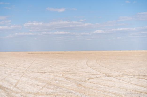Droge zee eindeloze zand prachtige wolken prachtige landschap estuarium. azove zee