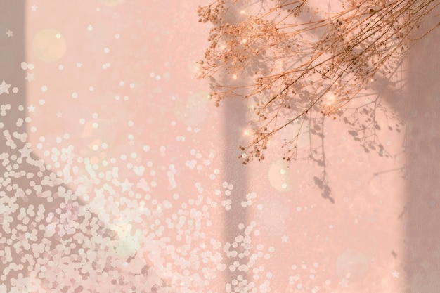 Dromerige achtergrond met confetti en bloem