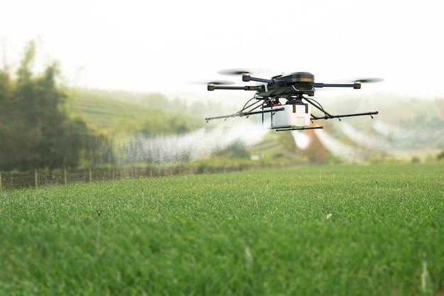 Drone sproeien van pesticiden op tarweveld