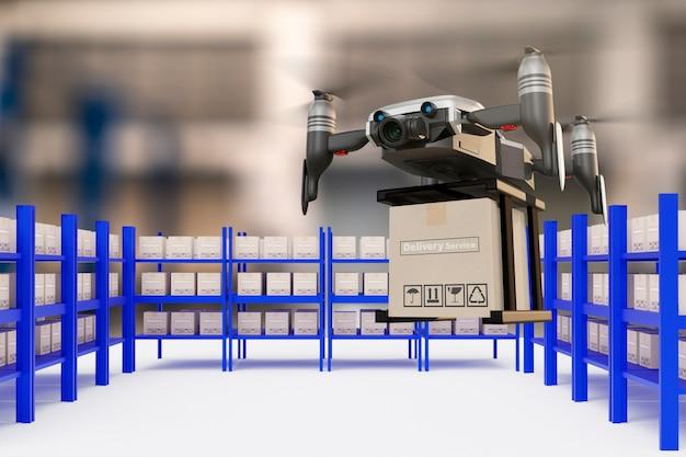 Drone technologie engineering apparaat industrie vliegen in industriële logistiek export import product levering aan huis service logistiek verzending vervoer vervoer of auto auto-onderdelen 3d-rendering