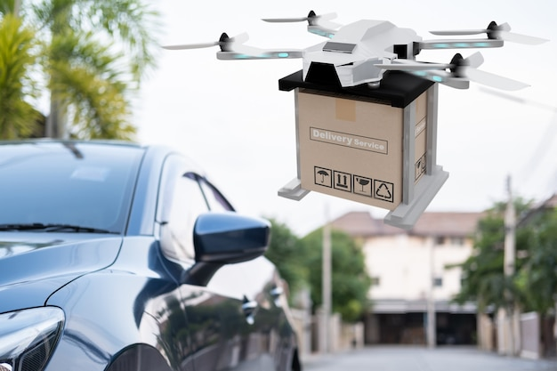 Drone-technologie-engineeringapparaat voor de industrie die in industriële naar logistieke export vliegt