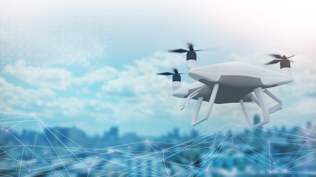 Drones in de stad voor het opnemen van stadsonderzoeken die worden gebruikt om informatie op te slaan of goederen te vervoeren