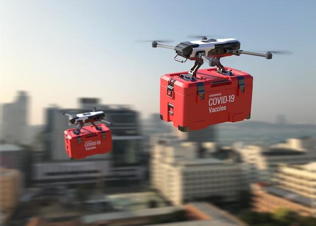 Drones leveren het covid-19-vaccin in de stad. 3d illustratie