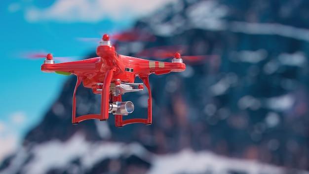 Drones vliegen in de lucht. 3d-rendering en illustratie.