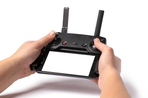 Droning-afstandsbediening in handen