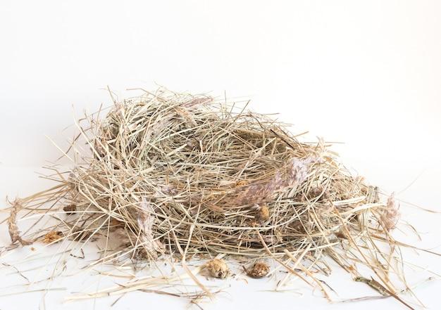 Droog hooi geïsoleerd. een stapel stro op wit