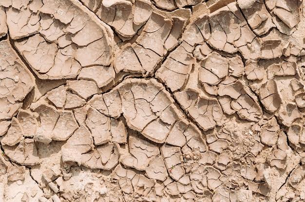Droog land in de woestijn, droge modder uit verdampt water.
