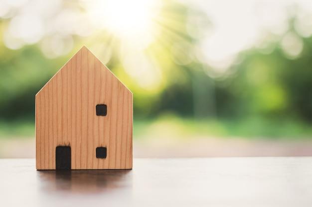 Droomhuisconcept, houten huismodel op aard
