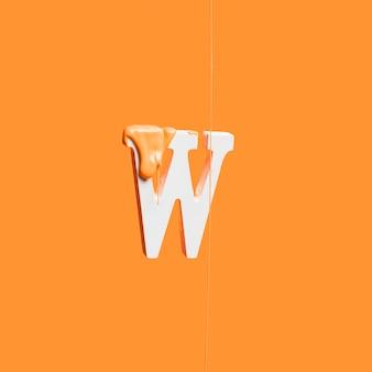 Druipende verf op letter w