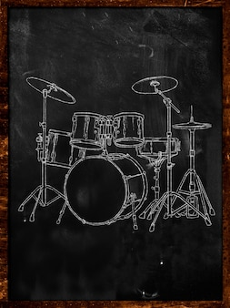 Drumkrijtschets op blackboard