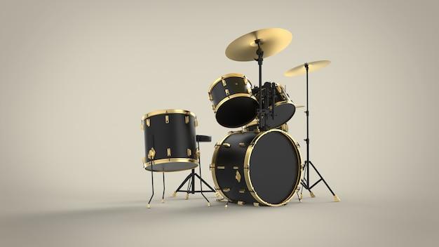 Drumstel set van moderne pop rock metal minimale apparatuur 3d
