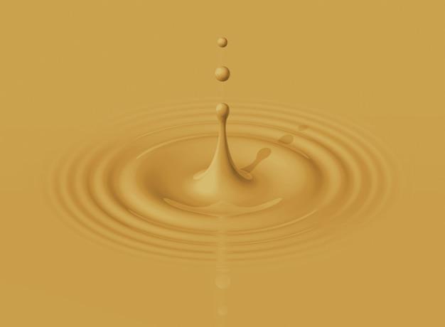 Druppel latte koffie spatten en rimpel maken. 3d-afbeelding