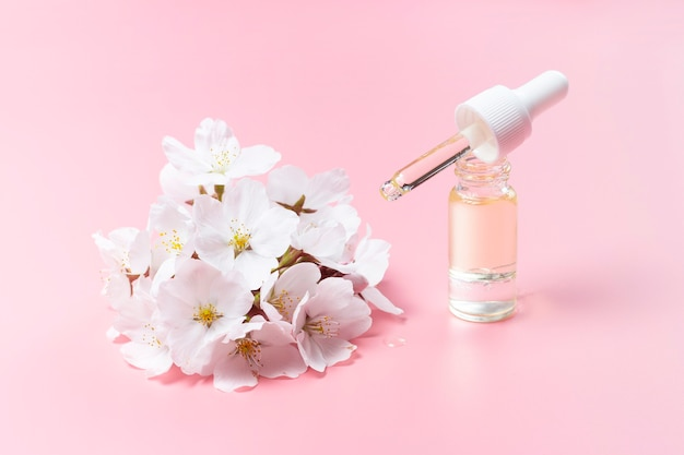 Druppelaar met olie en kersenbloemen op een roze achtergrond, een concert van natuurlijke cosmetica