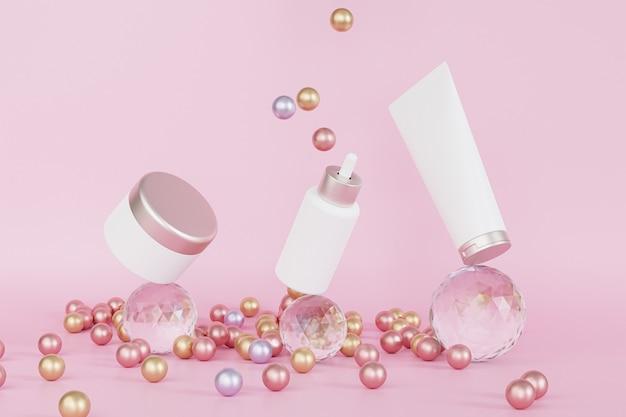 Druppelflesje, lotionbuis en zalfpotje voor cosmetica-producten balanceren op glazen bollen, 3d illustratie render