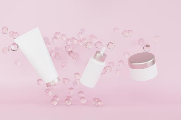 Druppelflesje, lotionbuis en zalfpotje voor cosmetica-producten die stijgen of vliegen, 3d illustratie renderen