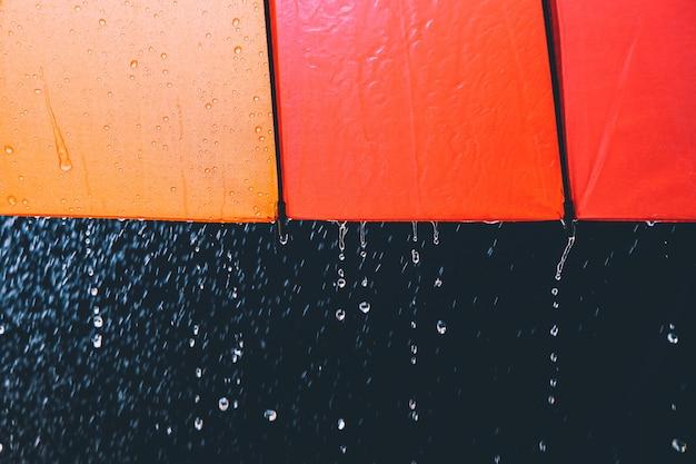 Druppels regen en paraplu op zwarte achtergrond