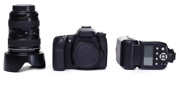 Dslr camerabehuizing, lens en flitser