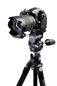 Dslr zwarte camera op statief