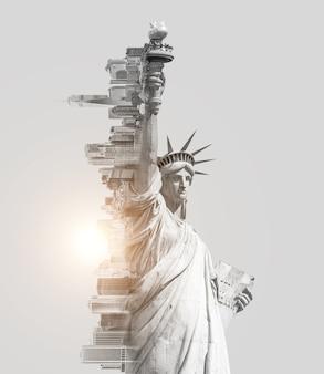 Dubbel belichtingsbeeld van het vrijheidsbeeld en de skyline van new york met een afgezwakt beeld in de ruimte