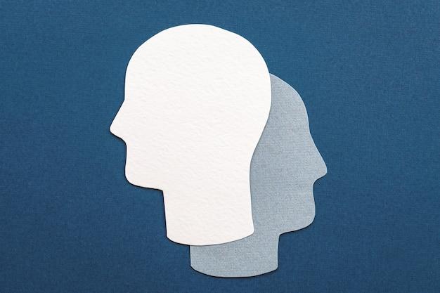 Dubbel hoofdsymbool - alter ego, analyse, onbewust, idee voor geestelijke gezondheid