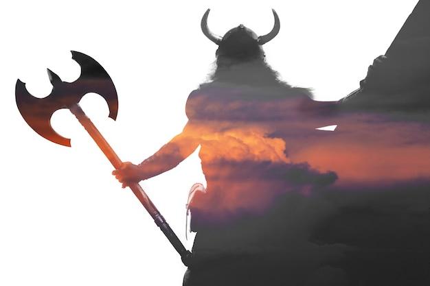 Dubbelbelicht portret van een sterke viking