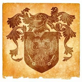 Dubbele geleide adelaar grunge embleem sepia