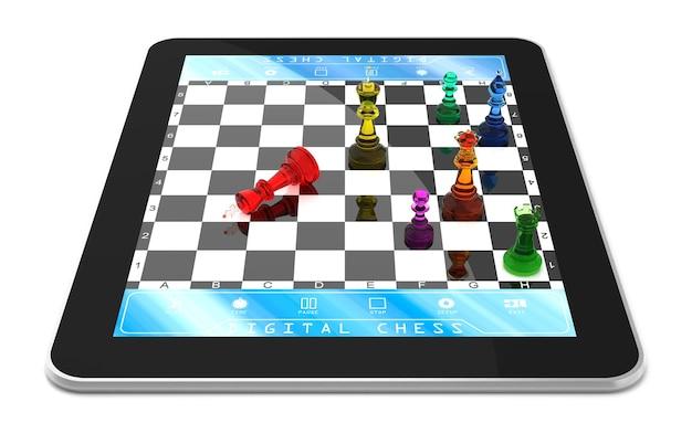 Dubbelspeler schaakspel op digitale tablet met driedimensionale schaakstukken.