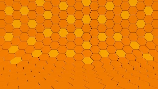 Duidelijk patroon abstracte achtergrond studio zeshoek oranje, herfst honingraat mozaïek. 3d-weergave.