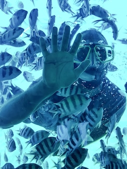 Duiker man in een snorkelmasker toont open hand onder water tussen een groep tropische gestreepte vissen