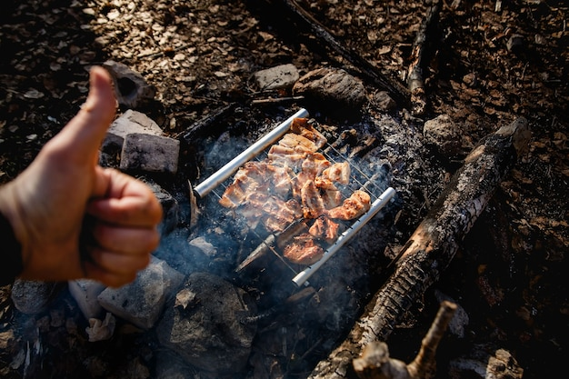Duim omhoog en kippenvlees in vuurkamp. draagbaar roestvrijstalen bbq-grill-wandelconcept. koken op wilde natuur.