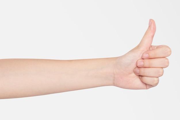 Duim omhoog handgebaar vingerafdruk scannen biometrische beveiligingstechnologie