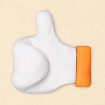 Duim omhoog klei icoon schattig handgemaakte marketing creatieve ambachtelijke afbeelding