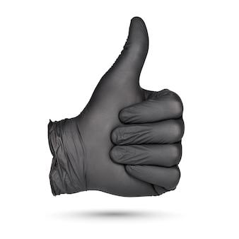Duim omhoog teken. hand in zwarte nitril handschoen geïsoleerd op een witte achtergrond.