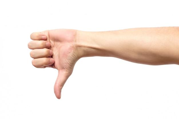 Duim omlaag mannenhand teken geïsoleerd