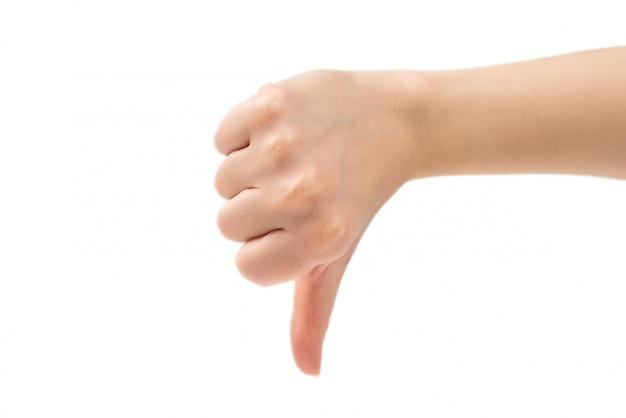 Duim onderaan geïsoleerd vrouwelijk handteken
