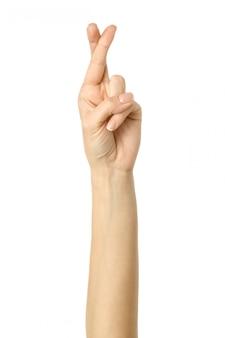 Duimen. vrouwenhand gesturing geïsoleerd op wit