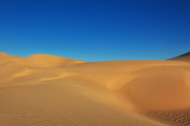 Duinen in de woestijn van de sahara in het hart van afrika