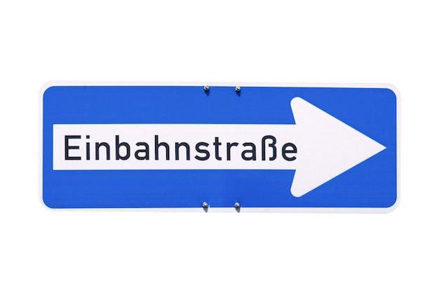 Duitse teken geïsoleerd over wit. einbahnstrae (eenrichtingsverkeer)