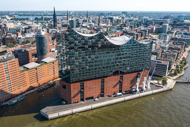 Duitsland, hamburg- luchtfoto van elbphilharmonie in hamburg